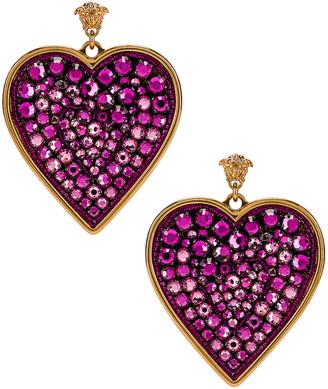 Versace Heart Earrings in Fuchsia & Gold   FWRD