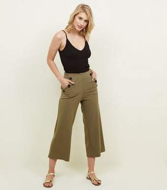 New Look Khaki Scuba Button Side Cropped Trousers