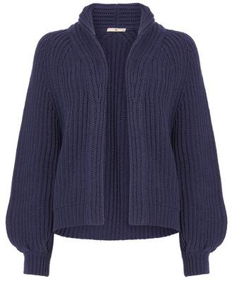 Tu clothing Navy Ribbed Shawl Collar Cardigan