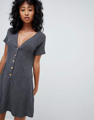 Pull&Bear button front crinkle dress in grey