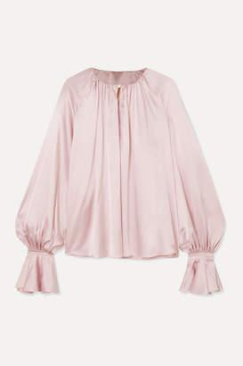 Roksanda Pia Gathered Silk-satin Blouse - Pastel pink