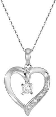 Diamonluxe DiamonLuxe Sterling Silver .22-ct. T.W. Simulated Diamond Heart Pendant
