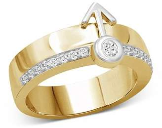 Love and Pride 14K White Gold & 14K Yellow Gold Diamond Male Insignia Combination Ring