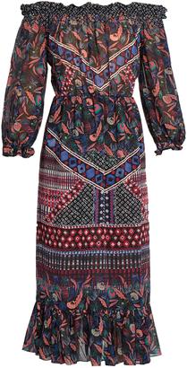 SALONI Elisa off-the-shoulder silk-chiffon dress $595 thestylecure.com