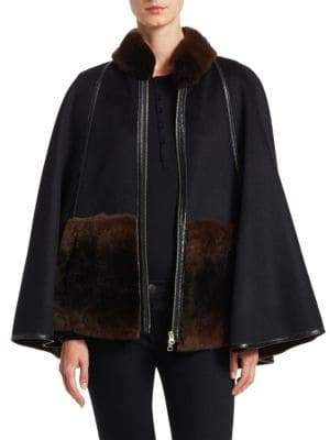The Fur Salon Wool-Blend Rabbit Fur Trim Cape Coat