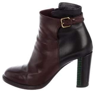Dries Van Noten Snakeskin-Heeled Leather Booties