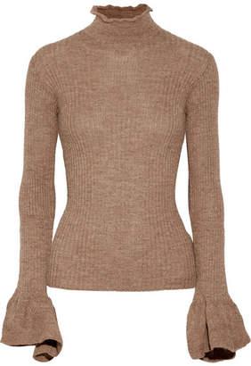 Acne Studios Raine Cutout Ribbed Alpaca And Wool-blend Turtleneck Sweater - Light brown