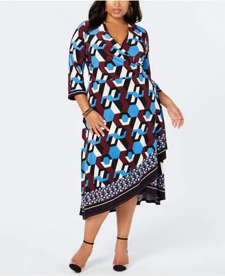 INC International Concepts I.n.c. Plus Size Geo-Print Faux-Wrap Dress, Created for Macy's