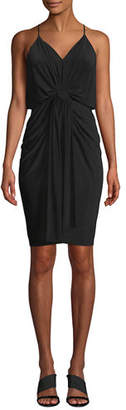 MISA Los Angeles Domino Slinky Jersey Midi Cocktail Dress