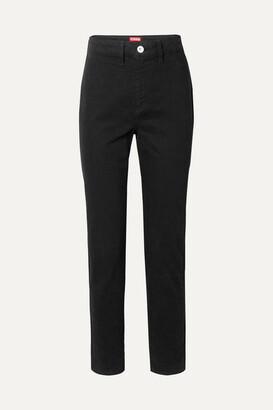STAUD Blonde Two-tone High-rise Slim-leg Jeans - Black