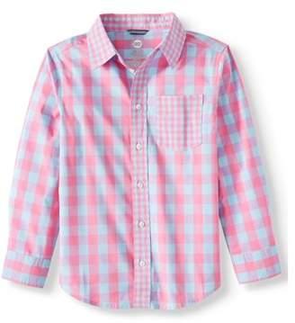 b24e0a8fa Wonder Nation Long Sleeve Stretch Button Up Gingham Shirt (Little Boys, Big  Boys,