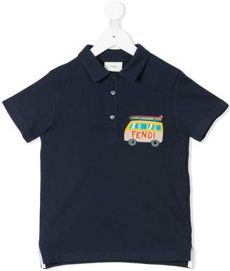 Fendi surf campervan printed polo shirt