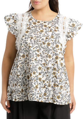 Top with Bobbles Sprig Print