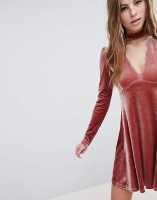 Oh My Love Long Sleeve Velvet Skater Dress