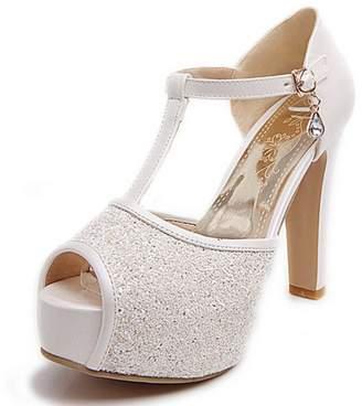 COOLCEPT Women Fashion Block High Heels T Strap Glitter Platform Pumps Shoes Peep Toe