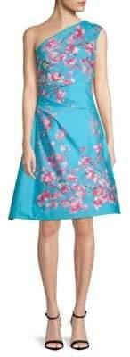 Monique Lhuillier Floral-Print One-Shoulder A-Line Dress