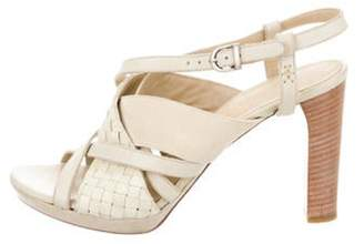Henry Beguelin Woven Leather Sandals Beige Woven Leather Sandals