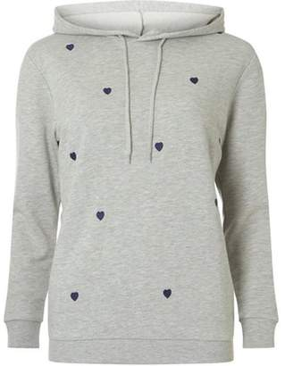 Dorothy Perkins Womens Grey Heart Embroidered Hoodie