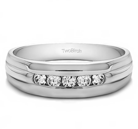 TwoBirch Brilliant Moissanite Mounted in Sterling Silver Brilliant Moissanite Moissanite Men's Wedding Ring (0.45crt)