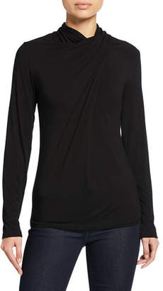 Elie Tahari Carrie Shirred Turtleneck Long-Sleeve Top