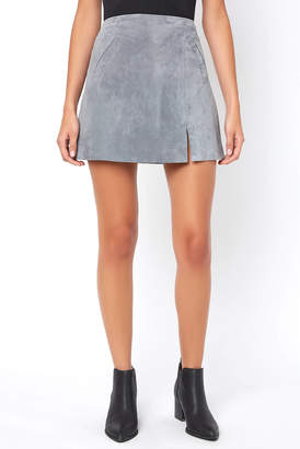 Blank NYC Venice Beach Suede Leather Mini Skirt