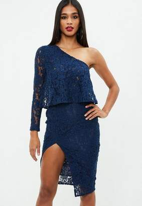 Missguided Navy Lace One Shoulder Midi Dress