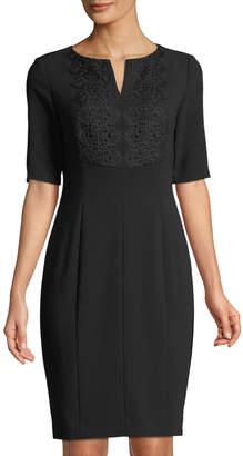 Tahari ASL Half-Sleeve Lace-Front Sheath Dress