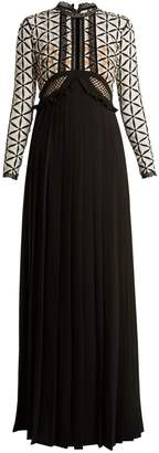 Self-Portrait Lace-panel long-sleeved pleated crepe dress