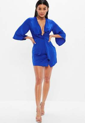 Missguided Petite Blue Twist Front Long Sleeve Dress