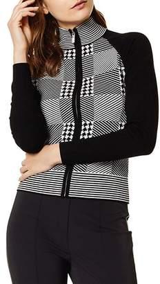 Karen Millen Check Zip-Front Cardigan