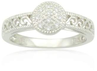 Sterling Filigree Diamond Ring (0.03 cttw