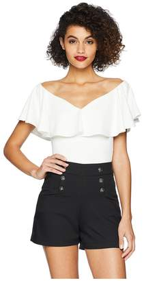 Unique Vintage Off Shoulder Ruffle Frenchie Knit Top Women's Clothing
