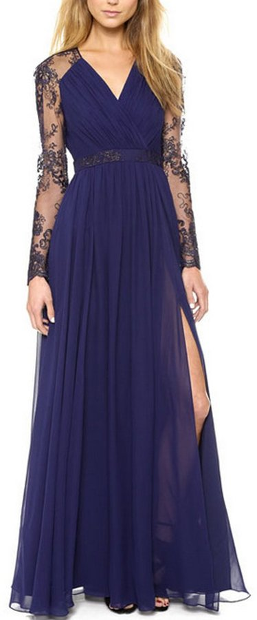 William&Lisa Women's Elegant Sheer Lace Long Sleeves Ruched Waist Evening Dress