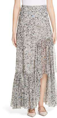 Rosetta Getty Foam Print Asymmetrical Silk Skirt