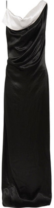 Lanvin - Draped Two-tone Satin Gown - Black $3,460 thestylecure.com