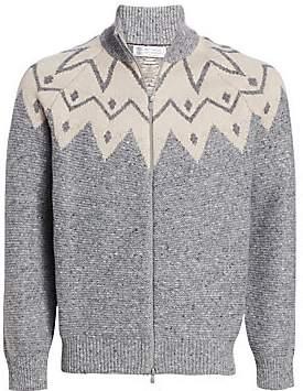 Brunello Cucinelli Men's Jacquard Full-Zip Cashmere Sweater