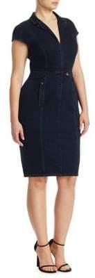 Marina Rinaldi Ashley Graham x Darsen Jersey Denim Sheath Dress