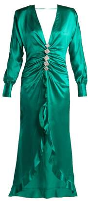 Alessandra Rich - Crystal Embellished Silk Satin Dress - Womens - Green