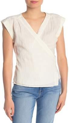 Frame Front Wrap Sleeveless Linen Blouse