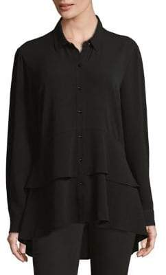 IMNYC Isaac Mizrahi Peplum Button-Down Shirt