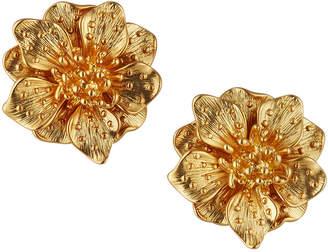 Kenneth Jay Lane Satin Flower Clip Earrings