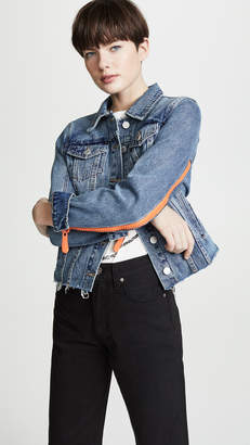 Blank Zip Detail Denim Jacket