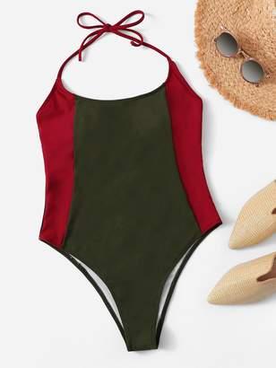b6da243c1a Shein Two Tone Low Back One Piece Swimsuit