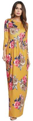 Ruiyige Women's Round Neck Floral Print Elegant Tunic Maxi Dress with Pockets 2XL