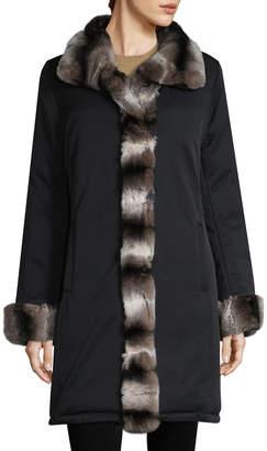 Yves Salomon Women's Rex Rabbit Trim Coat