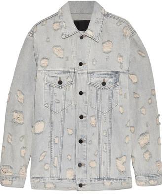 Alexander Wang - Daze Oversized Distressed Denim Jacket - Light denim $495 thestylecure.com