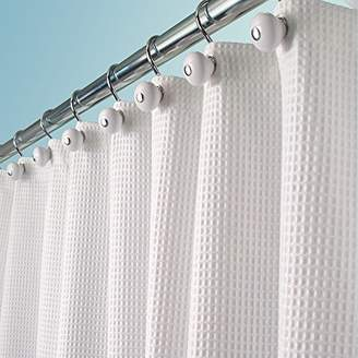 """+Hotel by K-bros&Co mDesign Hotel Quality Polyester/Cotton Blend Fabric Shower Curtain with Waffle Weave and Rustproof Metal Grommets for Bathroom Showers and Bathtubs - 72"""" x 72"""" - White"""