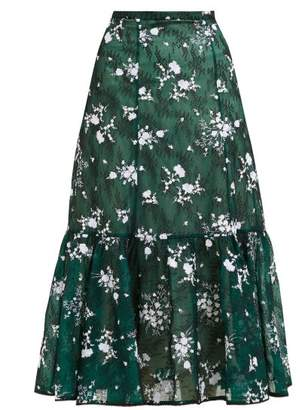 Erdem Claudina High Rise Floral Lace Midi Skirt - Womens - Green Multi