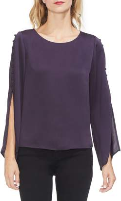 Vince Camuto Button Bell Sleeve Hammer Satin Top