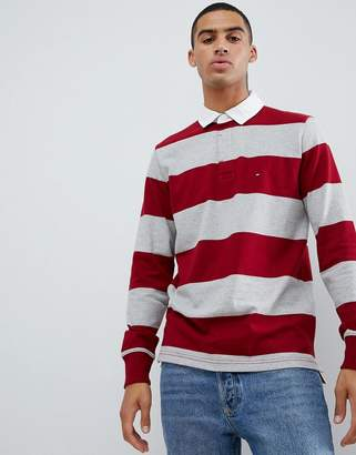 Tommy Hilfiger Iconic block stripe rugby long sleeve flag logo in burgundy/gray
